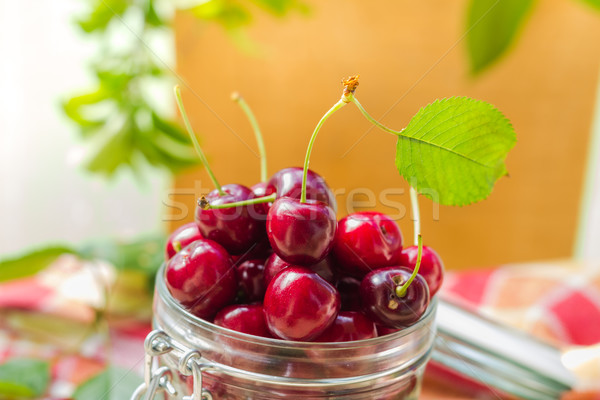 Fresh fruit cherries jar for products processed Stock photo © fotoaloja