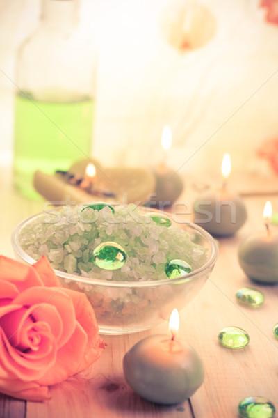 Spa concept salt bath scented candles Stock photo © fotoaloja