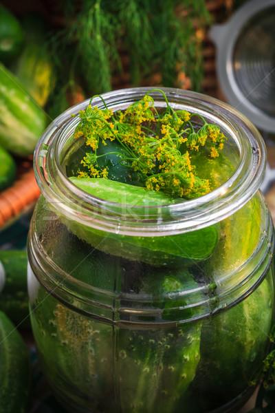 Jar augurken ander ingrediënten boerderij Stockfoto © fotoaloja