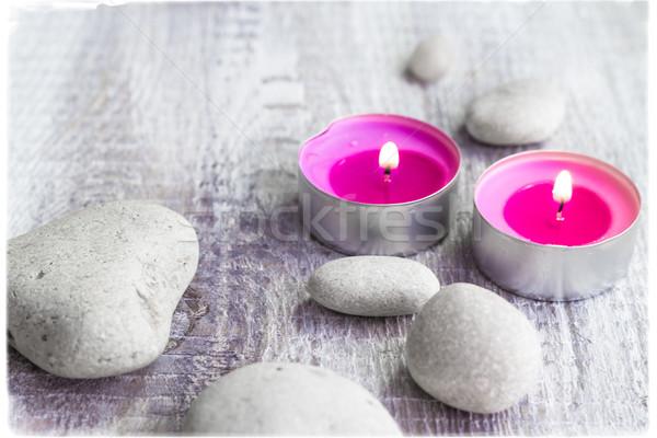 Spa камней ароматический свечей огня тело Сток-фото © fotoaloja