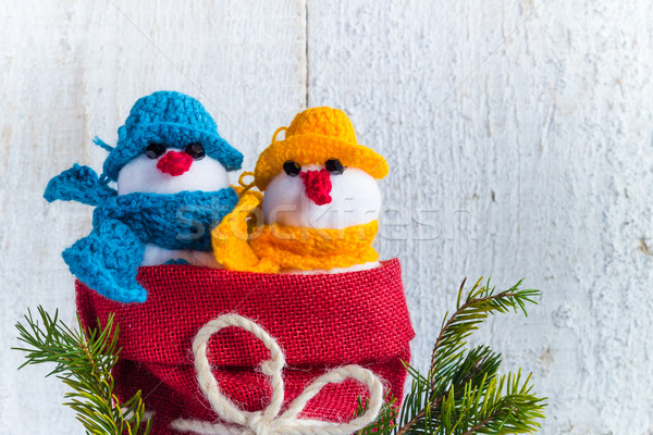 snowmen board wooden Christmas winter plush duo Stock photo © fotoaloja