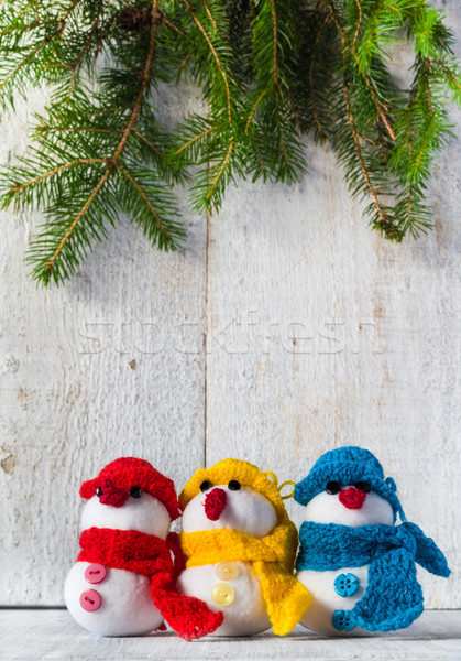 snowmen board wooden Christmas winter plush trio Stock photo © fotoaloja
