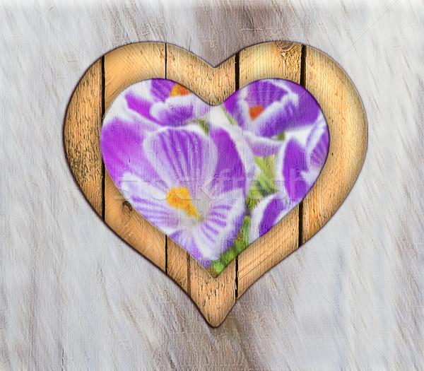 Heart frame border window wooden flower Stock photo © fotoaloja