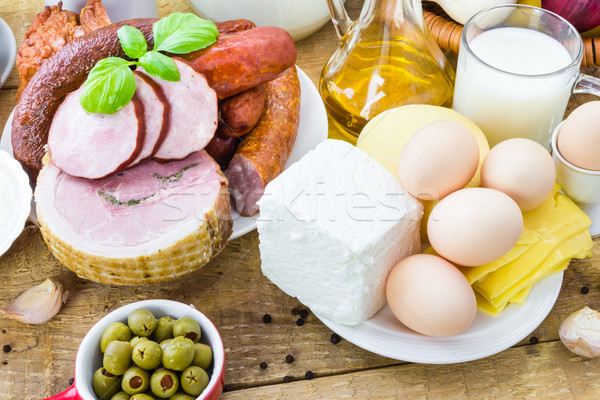 Választék élelmiszer termékek hús tejgazdaság fa Stock fotó © fotoaloja