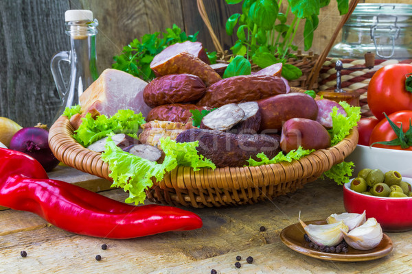 Composition variety meats sausages Stock photo © fotoaloja