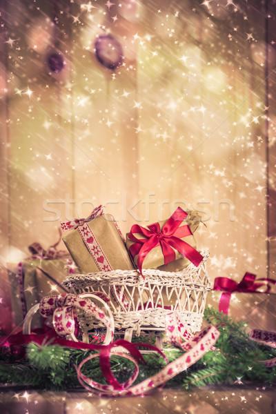 Vacanze Natale regali slitta aghi Foto d'archivio © fotoaloja