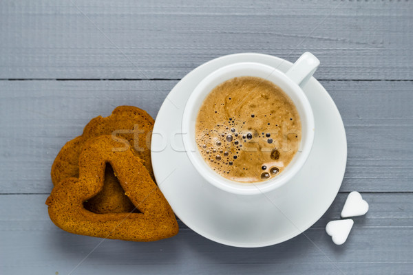 Valentine cup coffee boards sugar cubes cakes heart Stock photo © fotoaloja