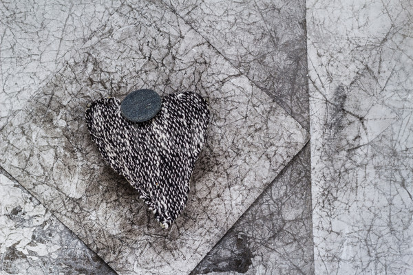 Valentines background grey heart old creased paper Stock photo © fotoaloja
