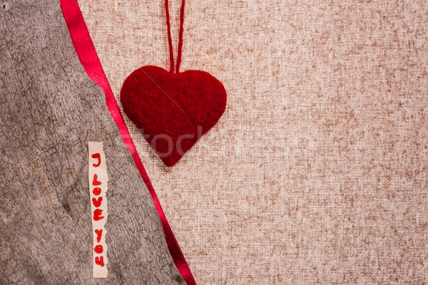 Valentine background hand-sewn heart texstile Stock photo © fotoaloja