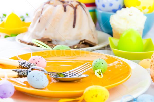 Arts de la table une personne Pâques table oeuf restaurant Photo stock © fotoaloja