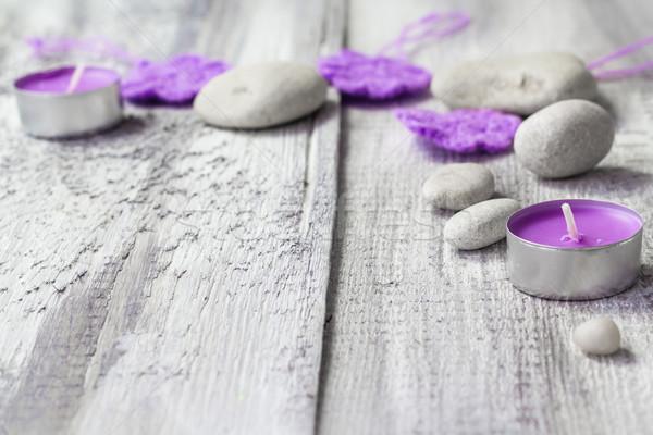 Zen kövek aromás gyertyák fából készült tűz Stock fotó © fotoaloja