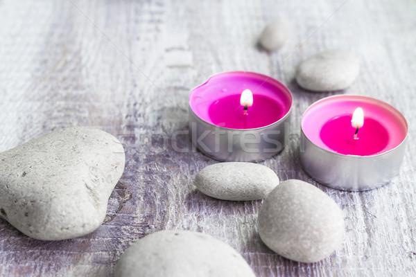 Spa piedras aromático velas fuego cuerpo Foto stock © fotoaloja