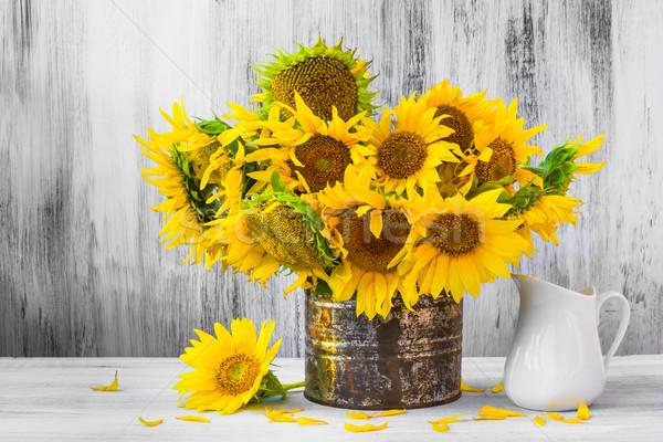 Bouquet sunflowers Still life old tin Stock photo © fotoaloja