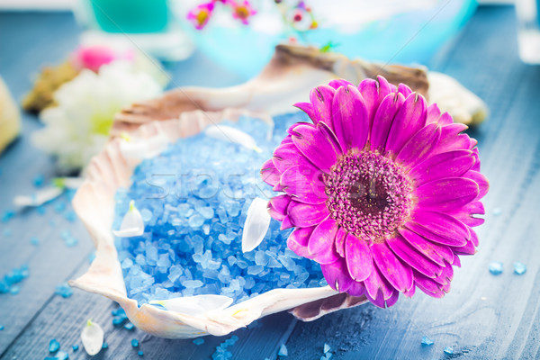 Spa concept aromatic flower bath salt Stock photo © fotoaloja