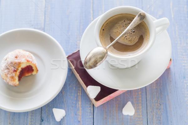 Kaffeetasse Milch süß Dessert Donuts Puderzucker Stock foto © fotoaloja