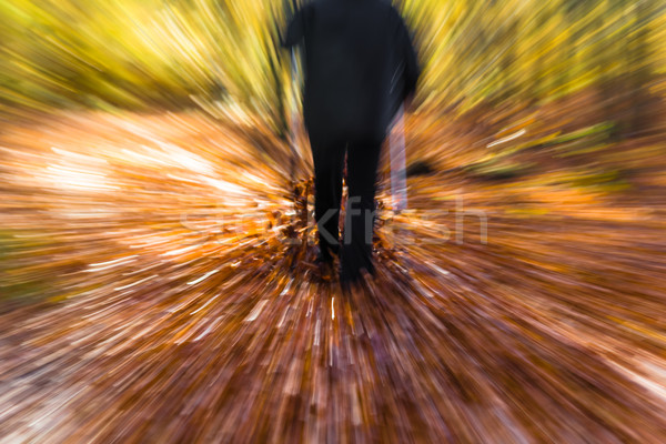 Nordic walking sport run walk motion blur outdoor person legs fo Stock photo © fotoaloja