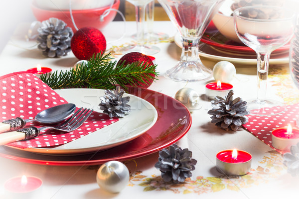 Christmas xmas eve table setting supper Stock photo © fotoaloja