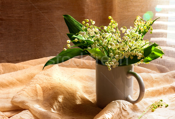 Still Life bouquet white lily valley Stock photo © fotoaloja