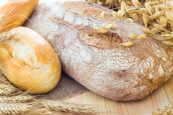 Composition fresh bread crispy rolls Stock photo © fotoaloja