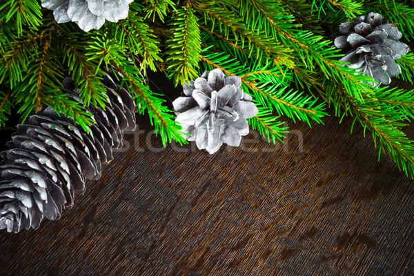 Weihnachtsbaum Fichte Kiefer Holz Weihnachten Hintergrund Stock foto © fotoaloja