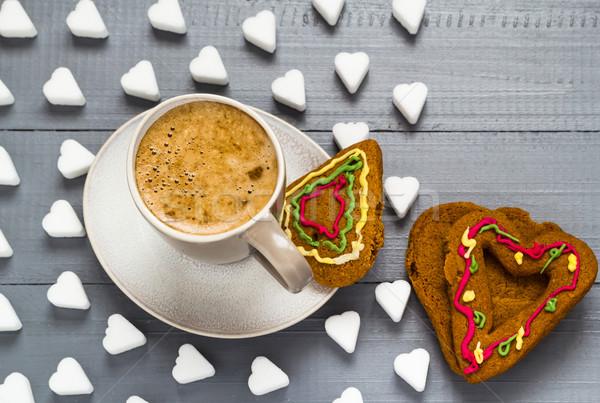 San Valentín taza café terrones de azúcar tortas corazón Foto stock © fotoaloja