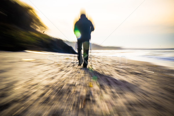 Nordic walking sport run walk motion blur outdoor person sea fig Stock photo © fotoaloja