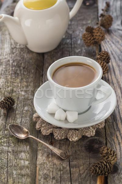 coffee cup black wooden board brown pines white jug Stock photo © fotoaloja