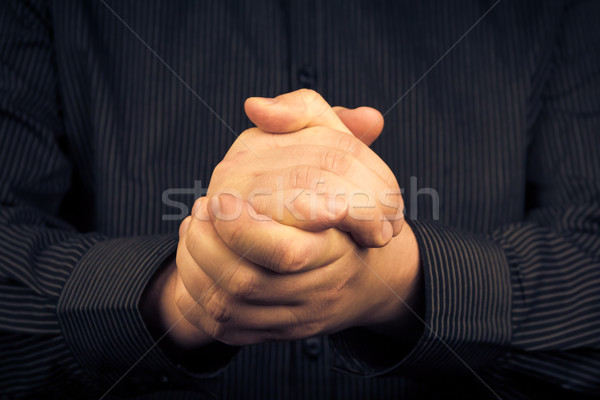 Man squeezed his hands gesture victory Stock photo © fotoaloja