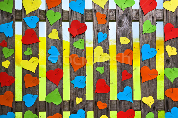 Heart fence hearts love meny colour Valentines Day paper Stock photo © fotoaloja