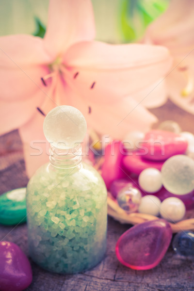 Spa concept flower lily salt bathing Stock photo © fotoaloja