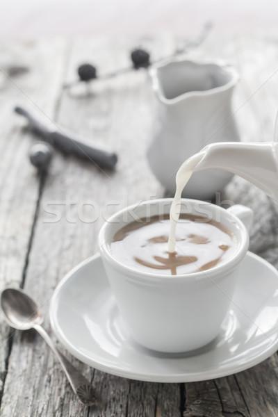 молоко кувшин Кубок черный кофе черный Сток-фото © fotoaloja