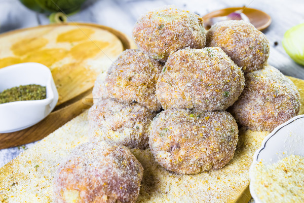 Stock photo: Closeup meat balls ground beef rolled breadcrumbs