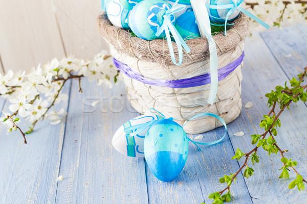 Cesta ovos de páscoa primavera flor amor Foto stock © fotoaloja