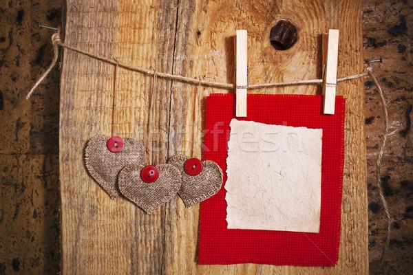 Dekorasyon ahşap kumaş kalp boş kart kâğıt Stok fotoğraf © fotoaloja