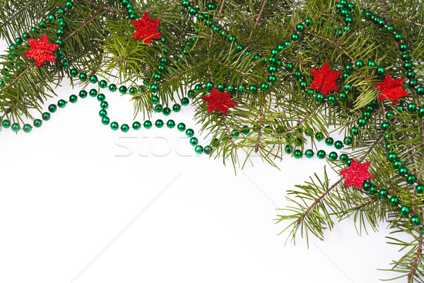 Christmas decorations background star stars green spruce twig Stock photo © fotoaloja