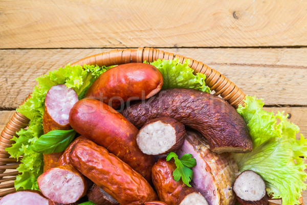 Background basket meat sausages meats Stock photo © fotoaloja