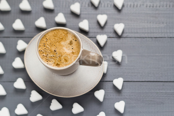 Valentine cup coffee boards sugar cubes Stock photo © fotoaloja