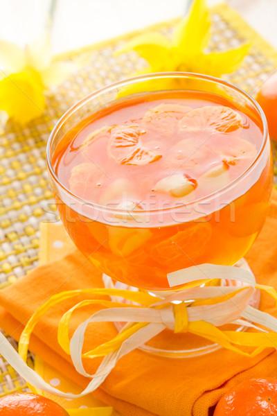 Finom gyümölcs zselé narancs üveg étterem Stock fotó © fotoaloja
