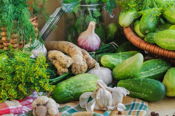 Preparing pickling cucumbers various components Stock photo © fotoaloja