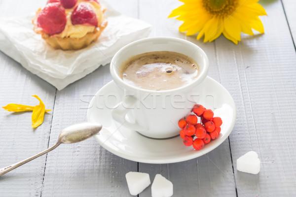 Coffee cup milk sweet dessert cake strawberries sunflower rowan Stock photo © fotoaloja