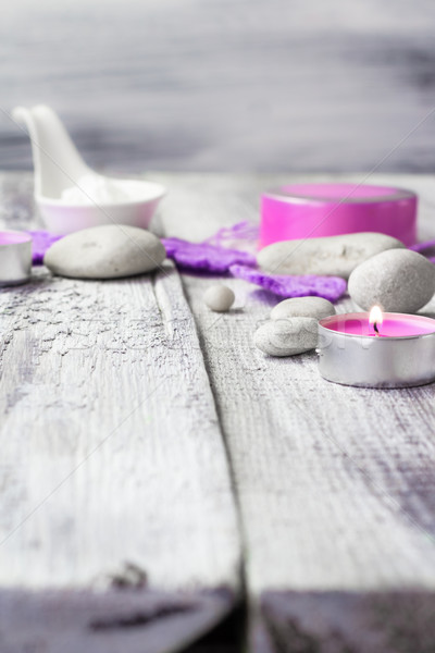 Stock photo: Zen stones aromatic candles wooden background