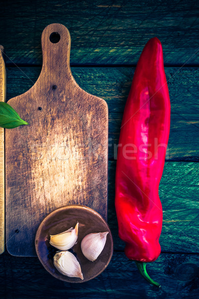 Worn cutting board spices herbs Stock photo © fotoaloja