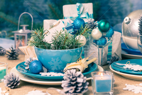 Christmas xmas eve table board setting Stock photo © fotoaloja