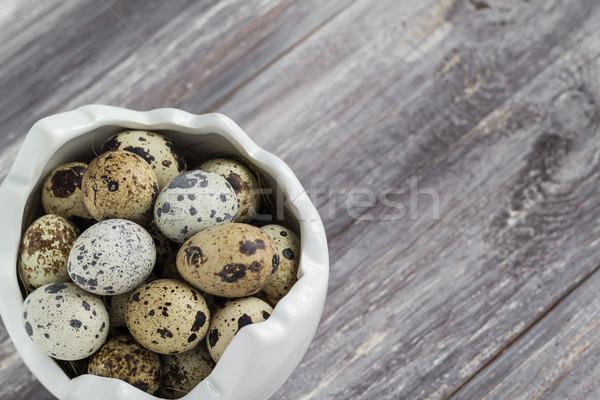 Klein eieren houten tafel schotel voorjaar natuur Stockfoto © fotoaloja