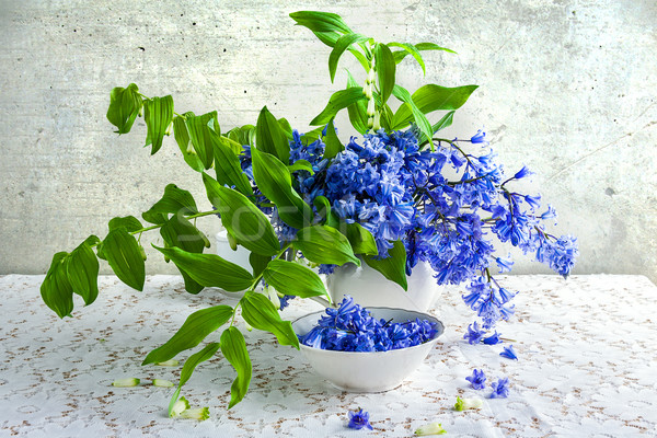 Still life bouquet polygonatum blue tones white crockery Stock photo © fotoaloja