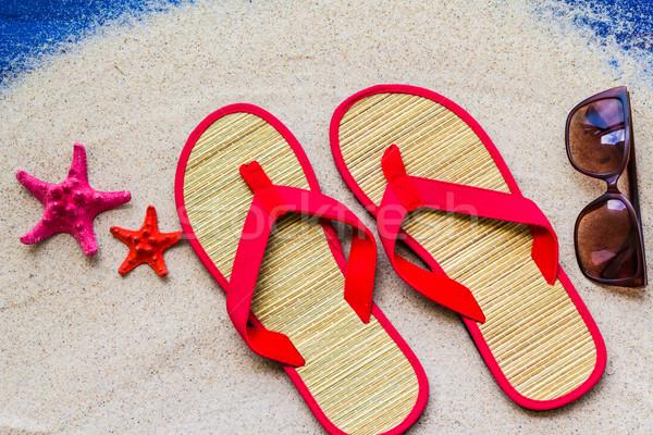 Sea shells flip flops beach sand Stock photo © fotoaloja