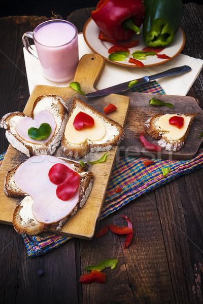 breakfast hearts sandwiches boards food buttermilk knife Stock photo © fotoaloja