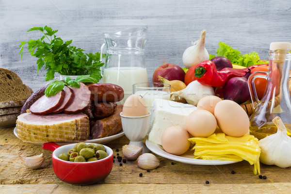 Stock photo: Composition grocery products dairy vegetables fruits meat