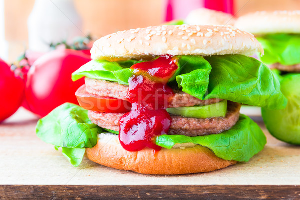 Appetizing big cheeseburger fresh lettuce cucumber Stock photo © fotoaloja