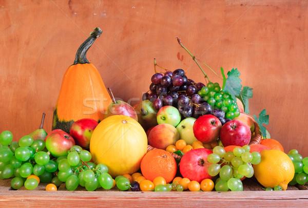 木製のテーブル フル 新鮮果物 フルーツ オレンジ 表 ストックフォト © fotoaloja